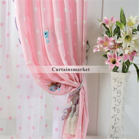 Pink Patterned Curtains Online | cute patterned pink kids room curtains for little girls