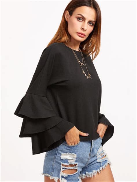 Bell Sleeve Plain Top layered bell sleeve top shein sheinside
