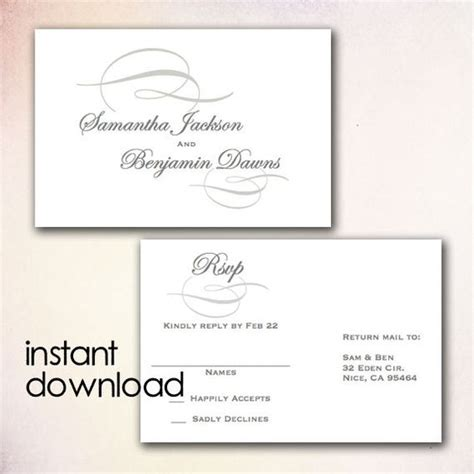 blank rsvp card template diy wedding rsvp postcard template instant