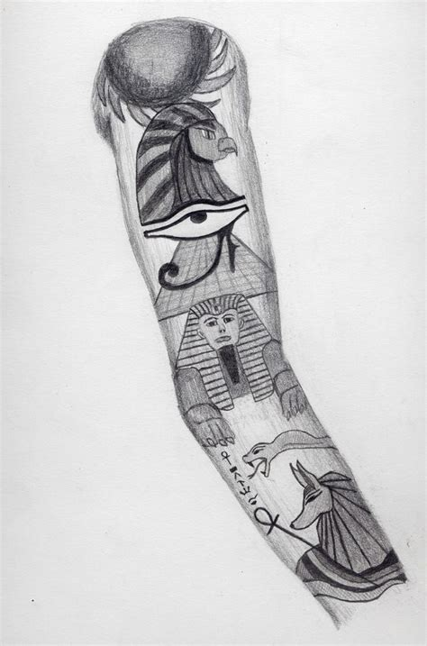egyptian sleeve tattoo design by bringthekaos on deviantart