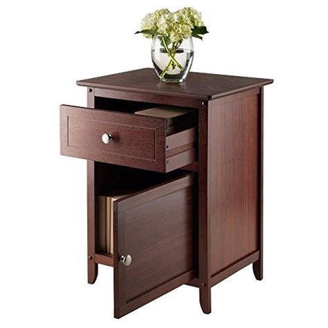wood nightstand side end table accent drawer shelf winsome wood night stand accent table w drawer cabinet