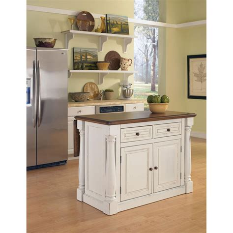 Butcher Block Portable Kitchen Island by Monarch Antique White Sanded Distressed Kitchen Island