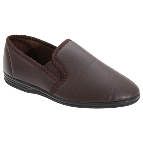 indoor slippers zedzzz mens ivor grain gusset loafer slip on