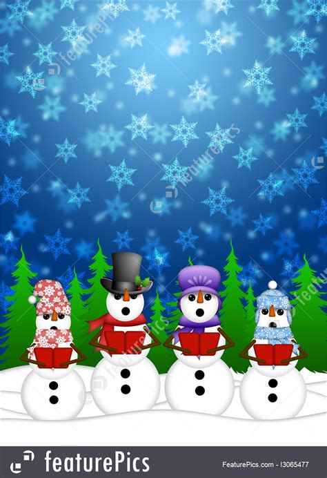 holidays snowman carolers singing with winter snowing