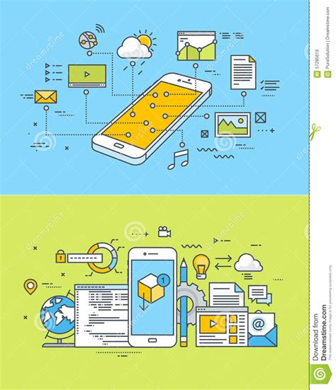 app design and development thin line flat design concepts of mobile site and app