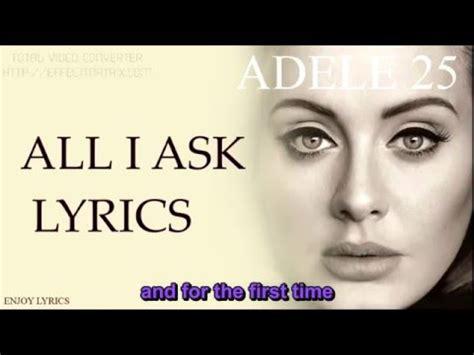 all i ask adele adele all i ask karaoke vietsub youtube
