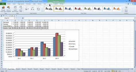 excel 2010 tutorial 13 line chart youtube how to make a 2d column chart in excel 2010 youtube