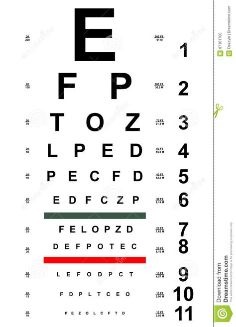 printable 8 x 11 eye chart chart test for eyes stock vector illustration of
