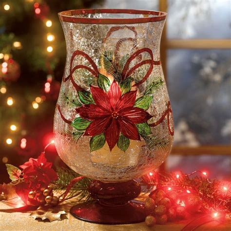 hand painted crackle glass poinsettia candle holders