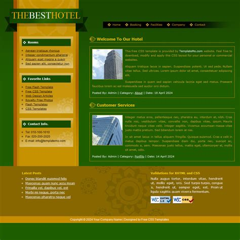 layout css website template 095 hotel