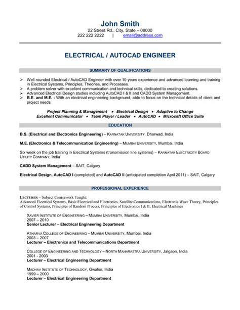 electrical engineer resume template exle resume electrical engineering student resume sle
