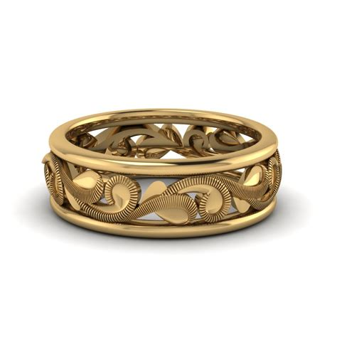 14k Gold Wedding Band by Filigree Eternity Wedding Band In 14k Yellow Gold