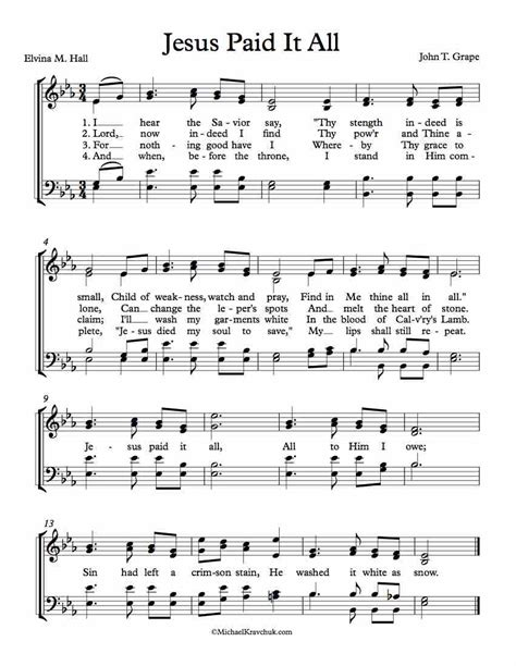 song for jesus free choir sheet jesus paid it all