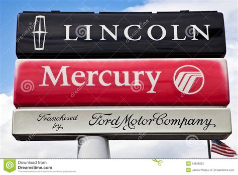 lincoln mercury ford ford lincoln mercury dealership sign editorial stock photo