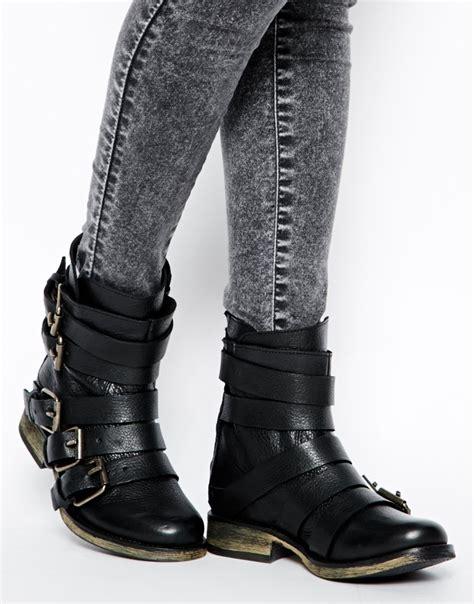 steve madden restrayn multi buckle ankle boots in black lyst