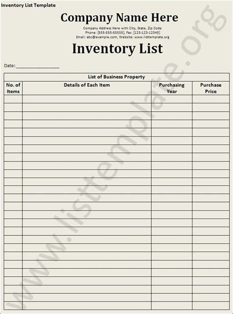 Hair Inventory List by Inventory List Template Craft Ideas Templates