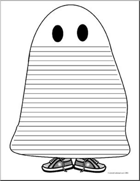 ghost writing paper shapebook writing paper kid in ghost costume abcteach