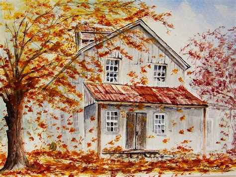 fall house farm house in fall painting by terence john cleary
