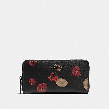 Coach Halftone Floral Lanyard Id Black Multi Original coach f55950 accordion zip wallet in halftone floral print coated canvas antique nickel
