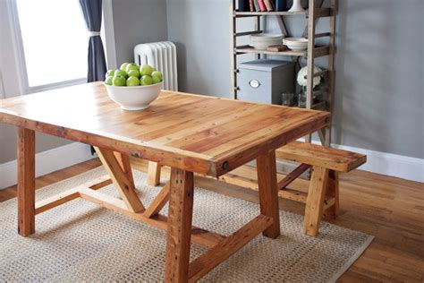 reclaimed wood farmhouse dining table and bench by