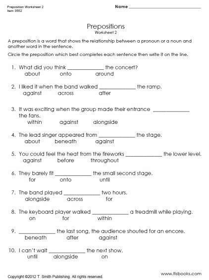 Prepositions Worksheet by Preposition Worksheet 2