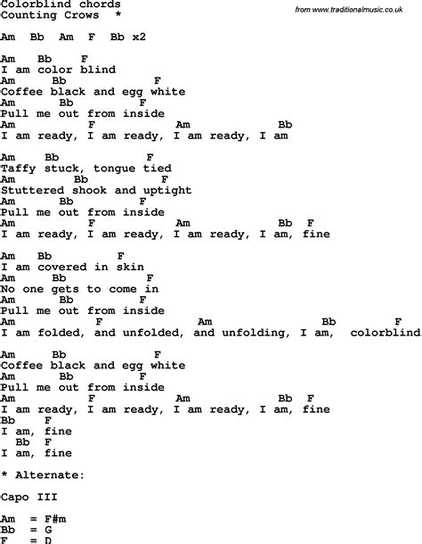 Song lyrics with guitar chords for Colorblind
