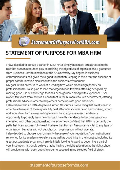 Why You Want To Do Mba In Hr by Check Statement Of Purpose For Mba Human Resource Management