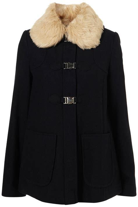 topshop swing coat topshop short fur collar swing coat in blue navy blue lyst