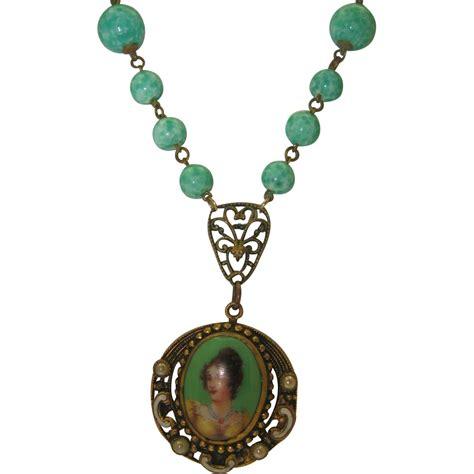bohemian peking glass portrait pendant necklace from