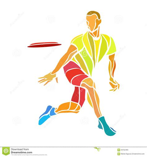 frisbee clipart sportsman throwing ultimate frisbee color vector stock