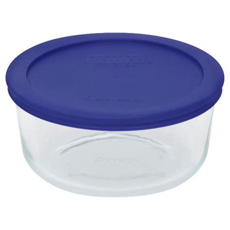 pyrex 174 4 cup glass container with blue plastic cover