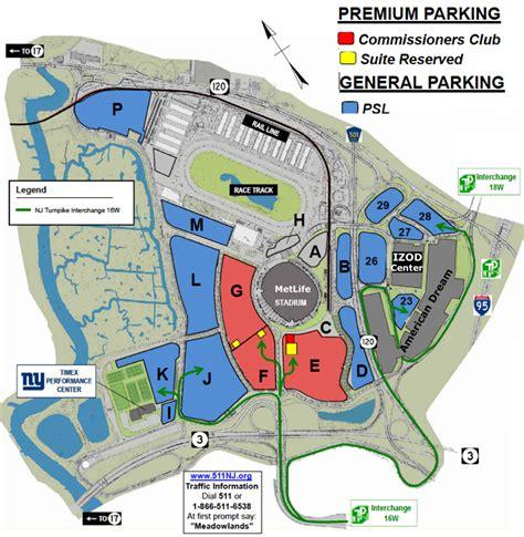 metlife stadium parking map meadowlands