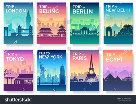 Plakat Querformat by Travel Information Cards Landscape Template Of Flyear