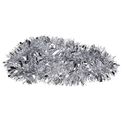 2m 6 5ft silver christmas tree tinsel garland embossing