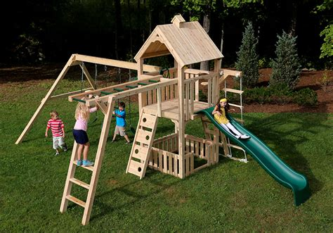 wooden swing kit cedar swing sets kits wonder play set two