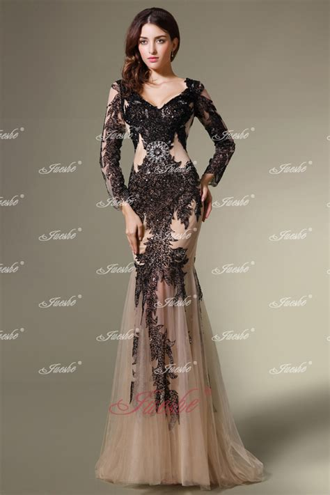 Sexy black open back sequined mermaid evening gown with long sleeves