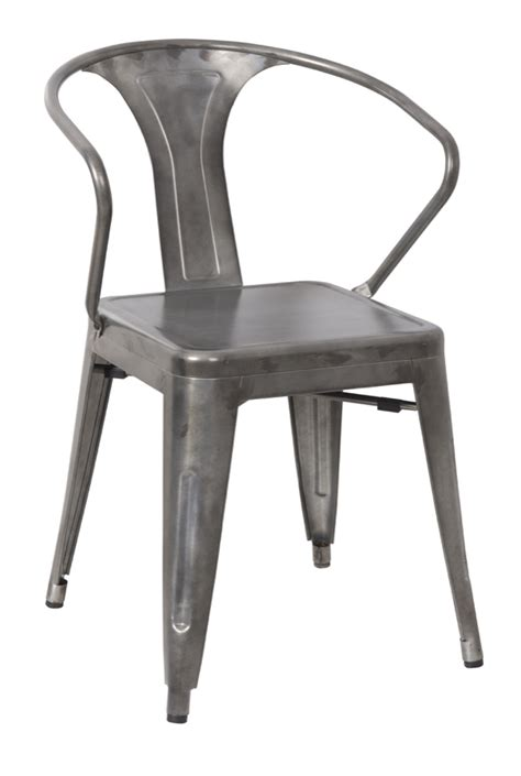 Galvanized Bistro Chair Galvanized Steel Arm Chair Hudson Collection Chairs Direct Seating
