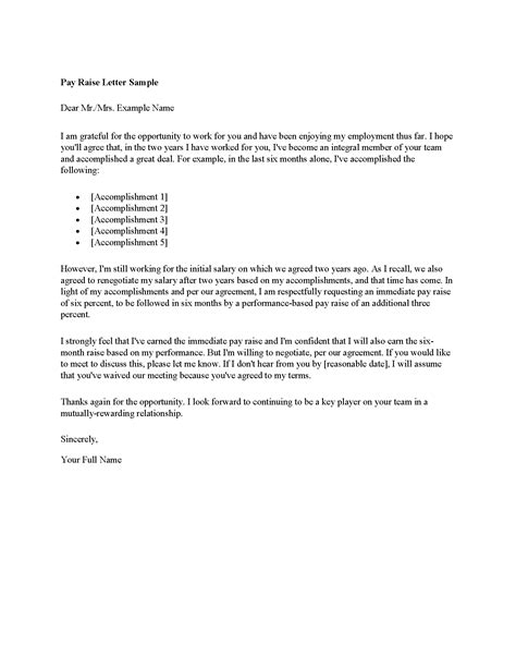 Pay Raise Letter To Your Sle Letter Asking For A Salary Increase Sle Business Letter