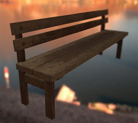 wooden bench with backrest bench with backrest 3d model obj
