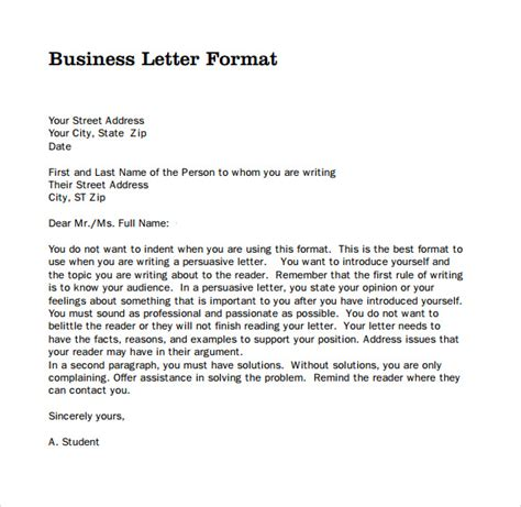format for professional letter sle professional business letter 6 documents in pdf