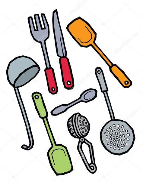 dibujos infantiles utensilios de cocina conjunto de utensilios de cocina dibujo mano vector de
