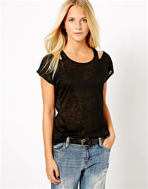 Shoulder Cut Out Shirt asos maternity new look cut out shoulder t shirt in black