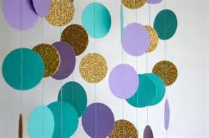 Paper garland in lavender teal and gold mermaid party