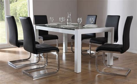 venice perth high gloss glass dining set black only