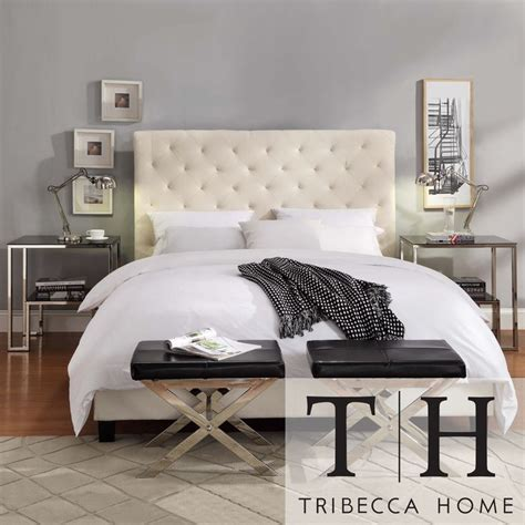 tribecca home beige fabric tufted king sized