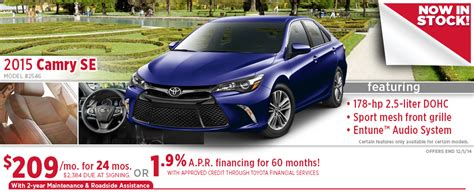 Toyota Special Offers New 2015 Toyota Camry Specials Wichita Vehicle Discounts