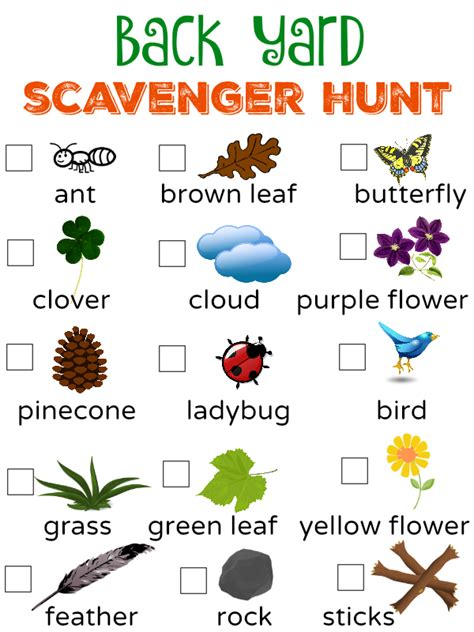 printable toddler scavenger hunt free to be outside back yard scavenger hunt printable