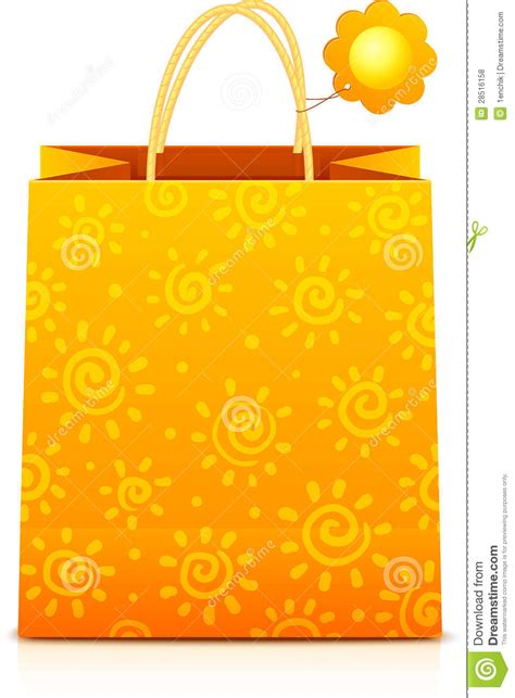 paper shopping bag pattern orange paper shopping bag with sunny pattern royalty free