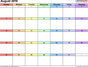 Calendar For August 2018 August 2018 Calendars For Word Excel Pdf
