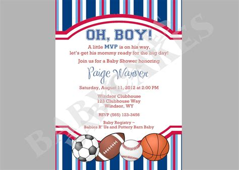 themed invitations template sports theme baby shower invitation diy print your by